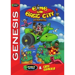Box Cover Of the NTSC - US version of Bomb On Basic City Mega Drive, Genesis.