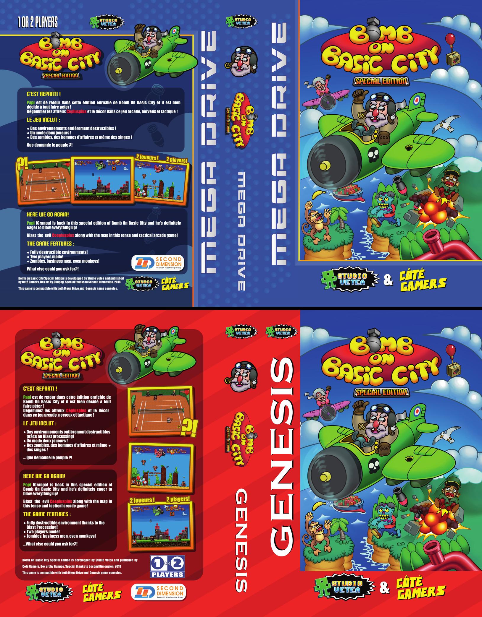 Jaquettes couvertures de la boîte de Bomb On Basic City sur Mega Drive, Genesis