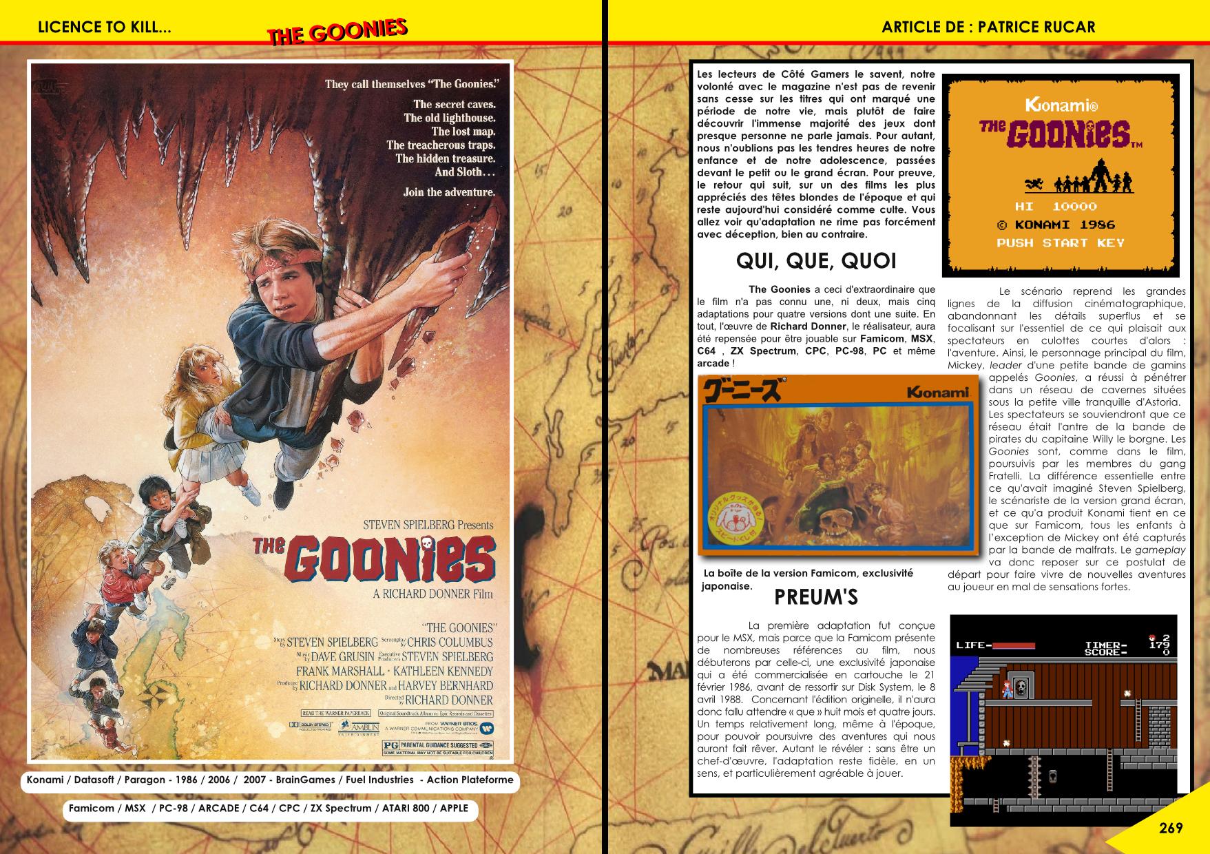 Goonies sur MSX, NES, Arcade, CPC, C64, ZX Spectrum, PC88, Atari 800 article de Côté Gamers