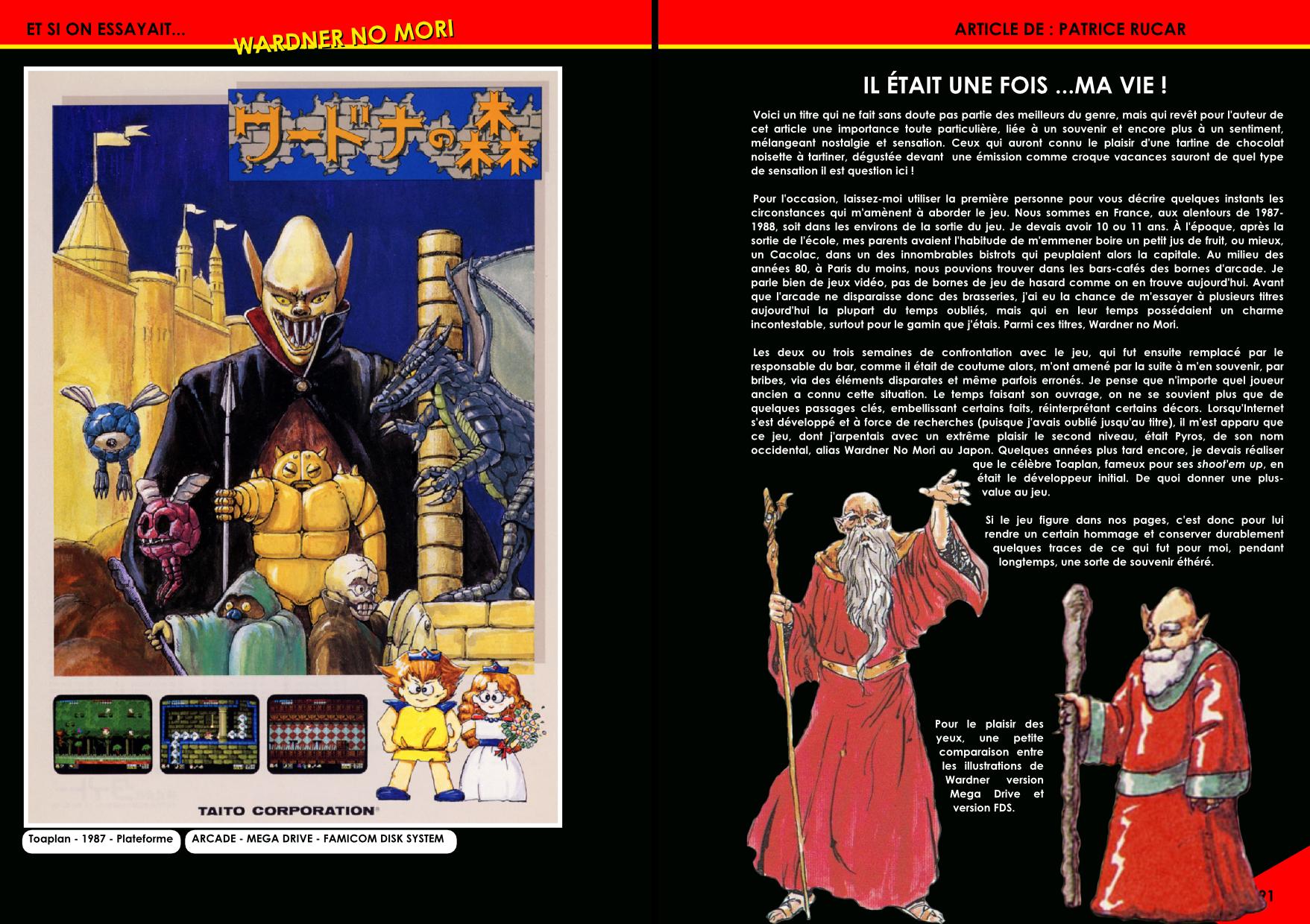 Wardner no Mori, Pyros, pour Arcade, Nes/ Famicom et Mega Drive article du magazine Côté Gamers