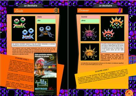 Livre avec le bestiaire de Metroid sur NES de chez Côté Gamers
