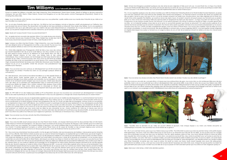 Les jeux auxquels vous ne jouerez jamais - les jeux abandonnés ou annulés - exemple d'interview, Tim Williams - Unseen64