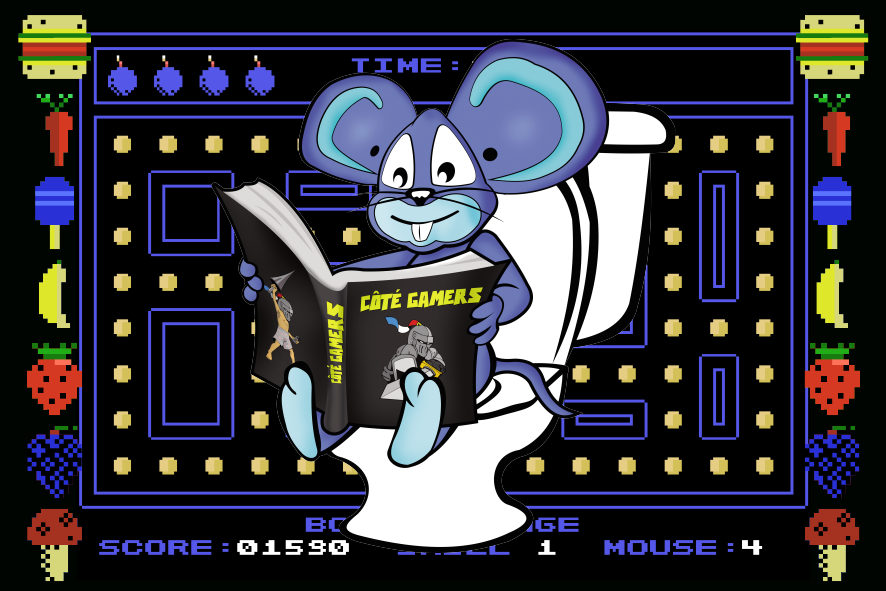 Postcard of Muncher Mouse on ColecoVision from Côté Gamers.