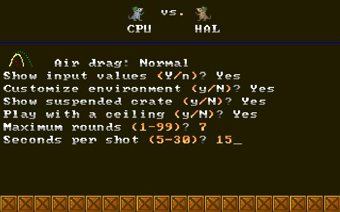Ratillery  DOS options