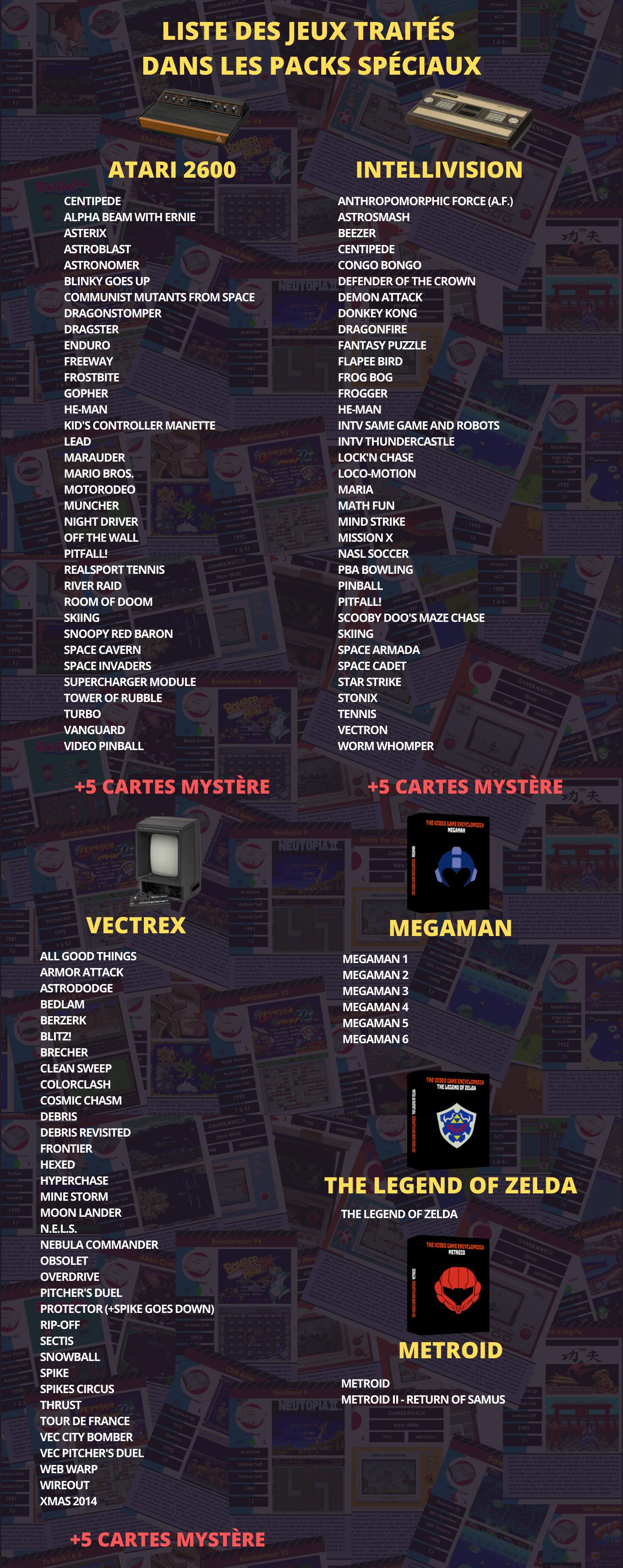 Liste des jeux traités dans les packs spéciaux de l'encyclopédie du jeu vidéo