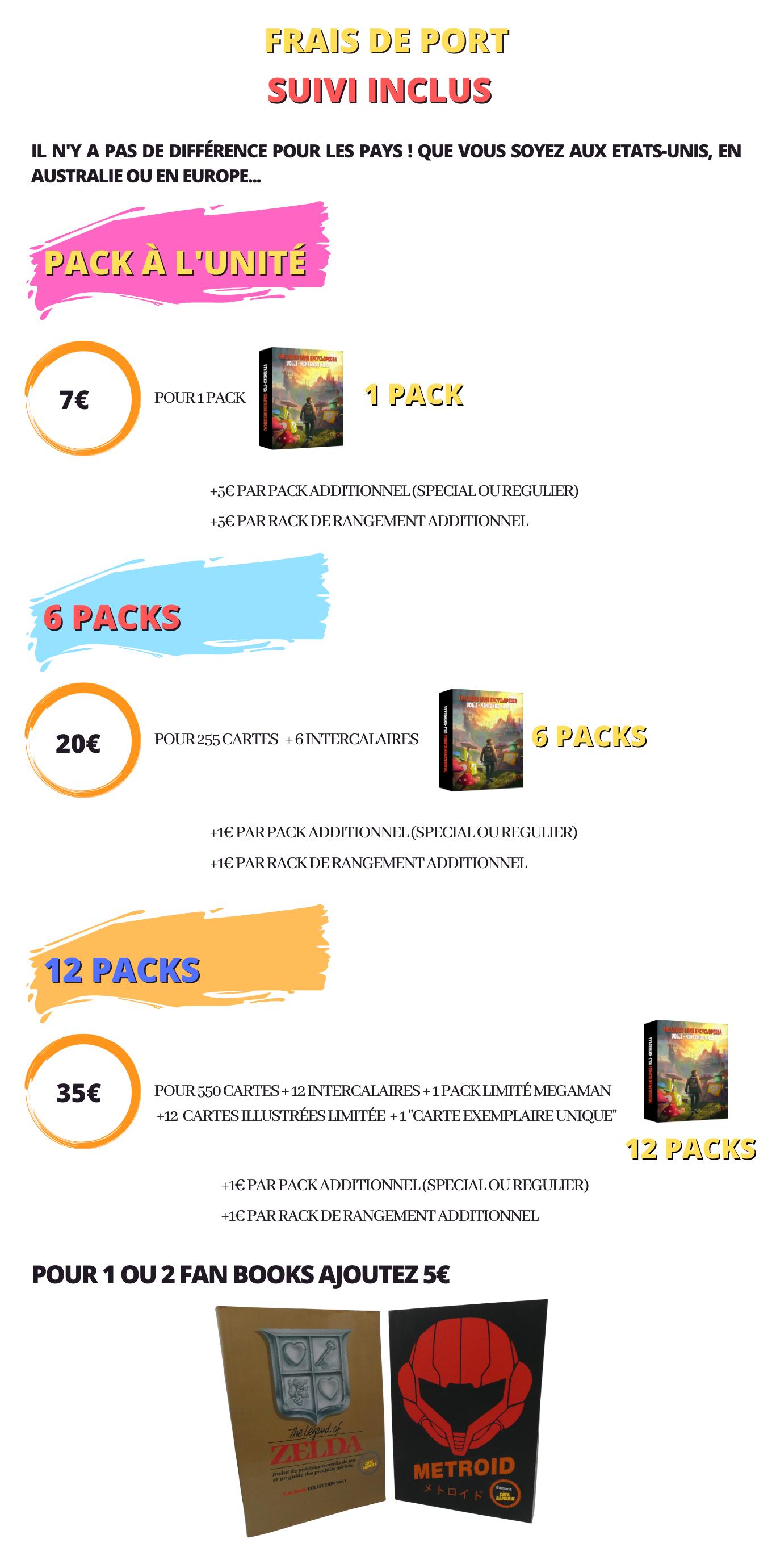 Frais de port des packs de cartes encyclopédiques sur le jeu vidéo