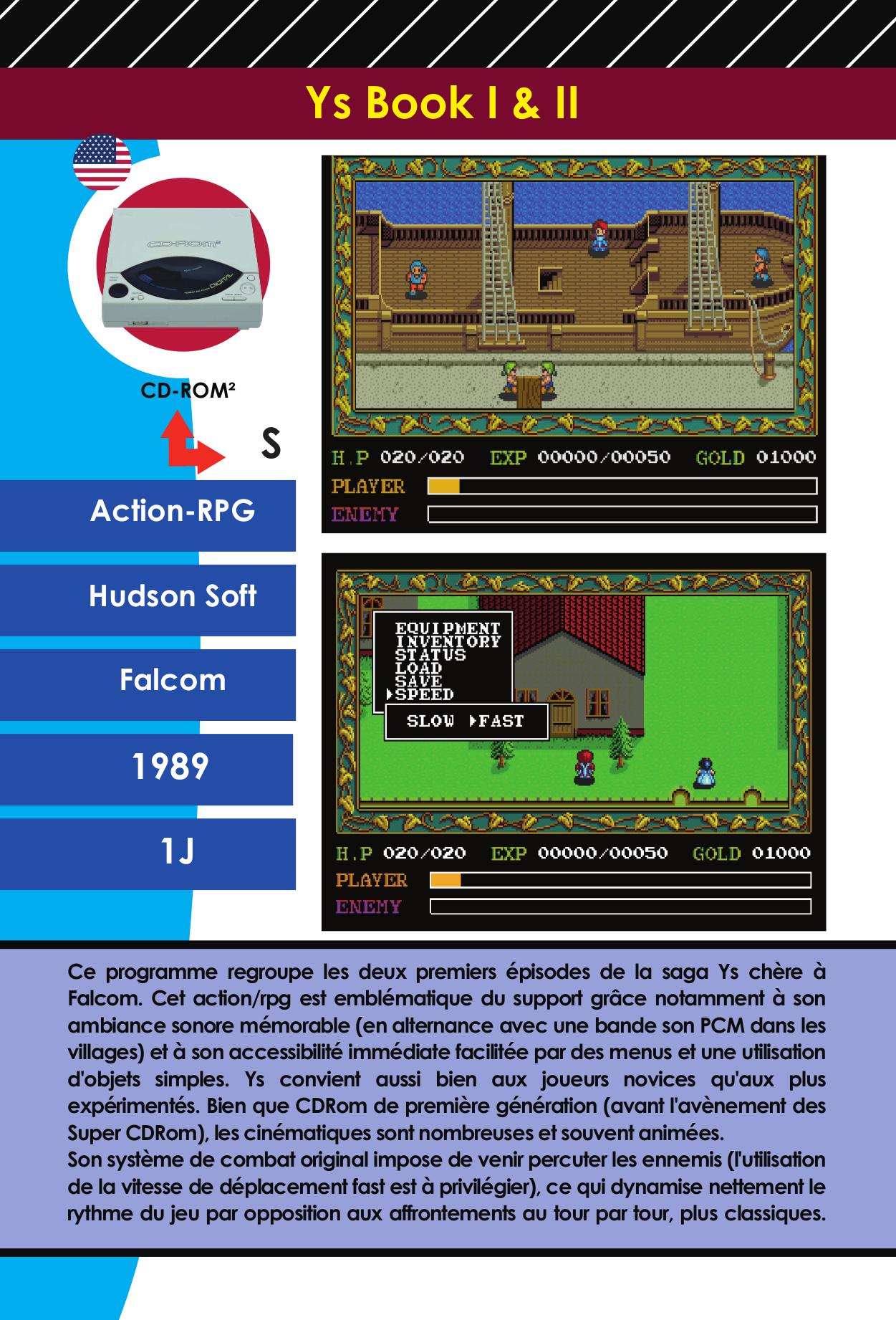 Fiche encyclopédie du jeu vidéo Y's PC Engine