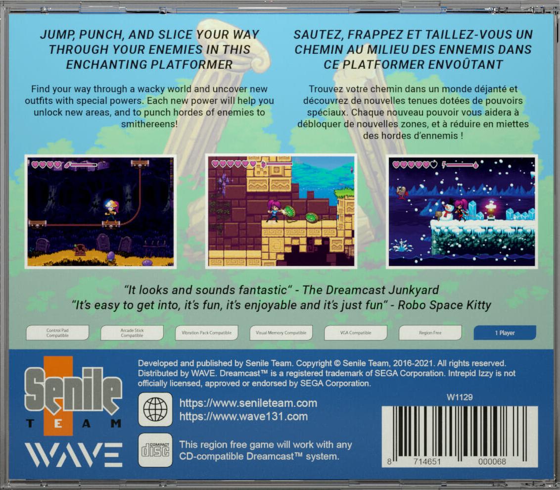 Intrepid Izzy Dreamcast boîte arriere verso