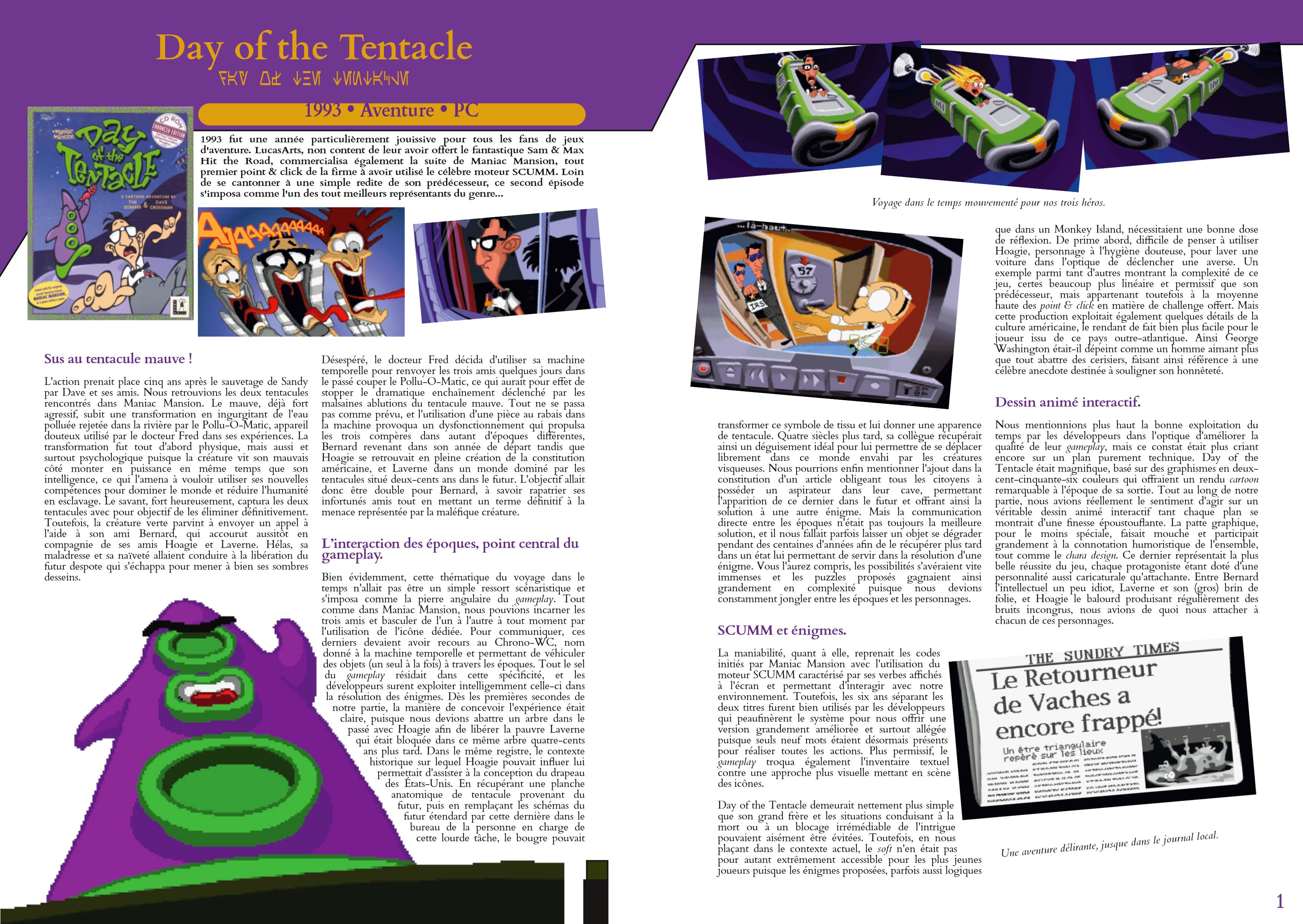 LucasArts les chroniques extrait Day Of The Tentacles