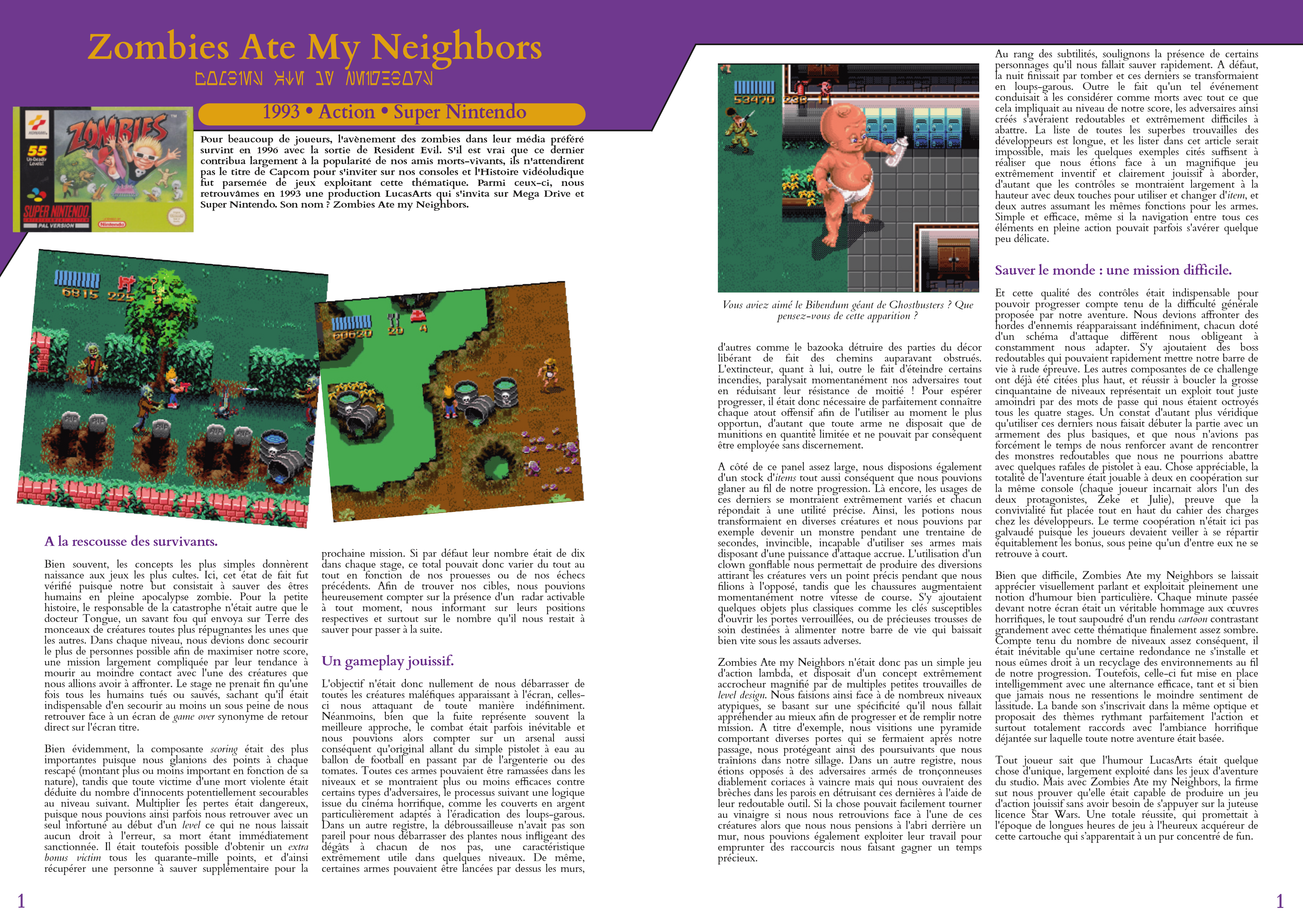 LucasArts les chroniques extrait Zombies ate my neighbors