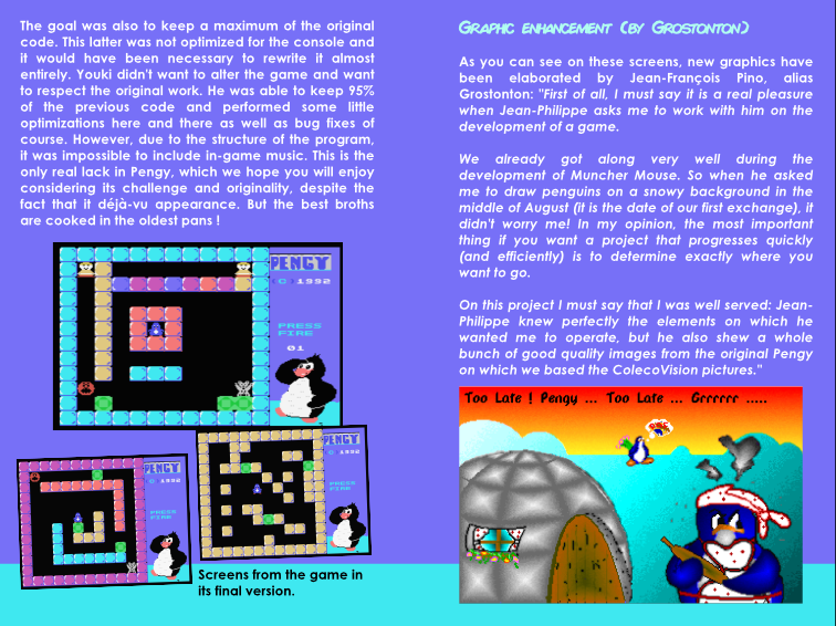 Pengy ColecoVision instructions manual sample page 2