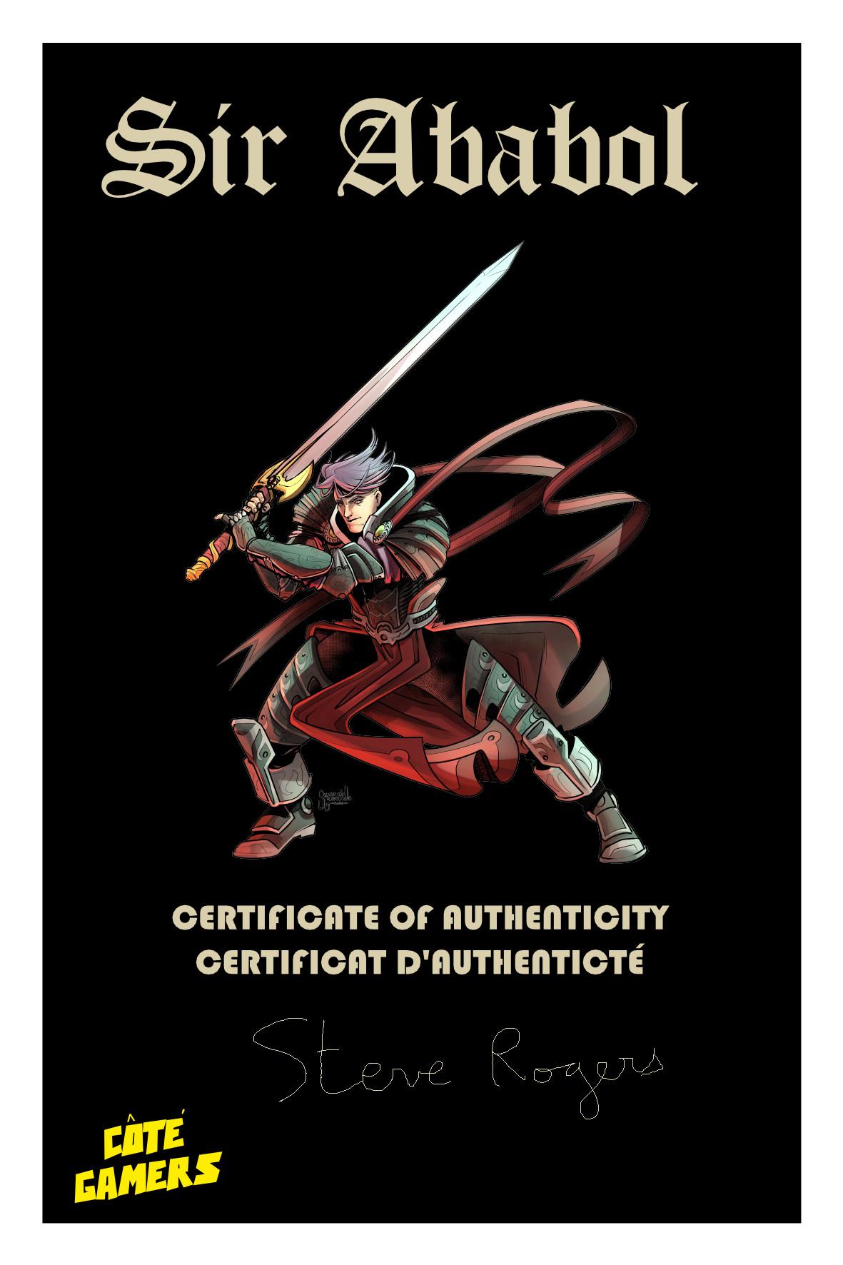 Sir Ababol certificat d'authenticité Carte postal