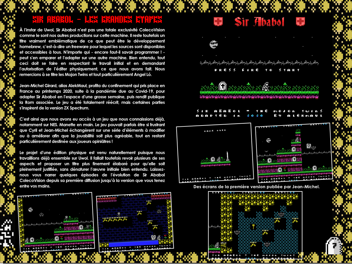 Sir Ababol ColecoVision notice extrait making of 1
